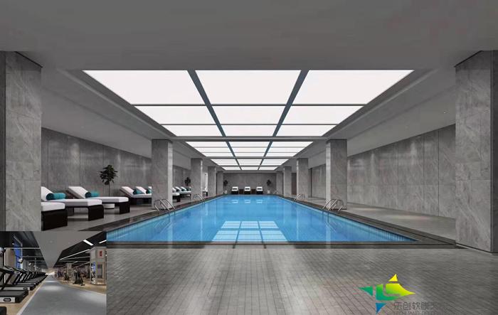 祝贺公司健身游泳馆泳池英国储君吊顶顺利完工